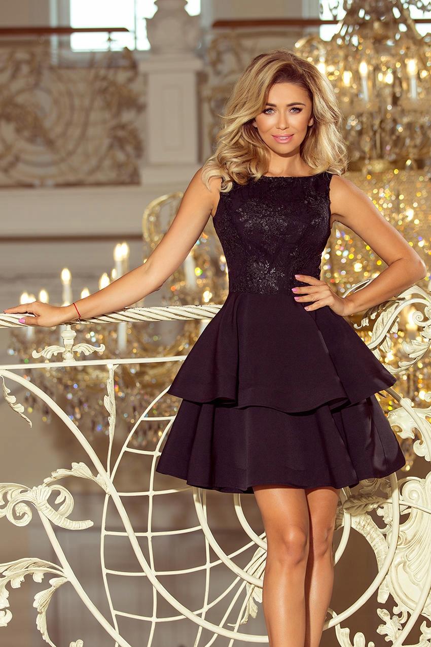 6b6ed106d3 Rozkloszowana sukienka z haftowaną górą CZARNA M - 7628055434 ...