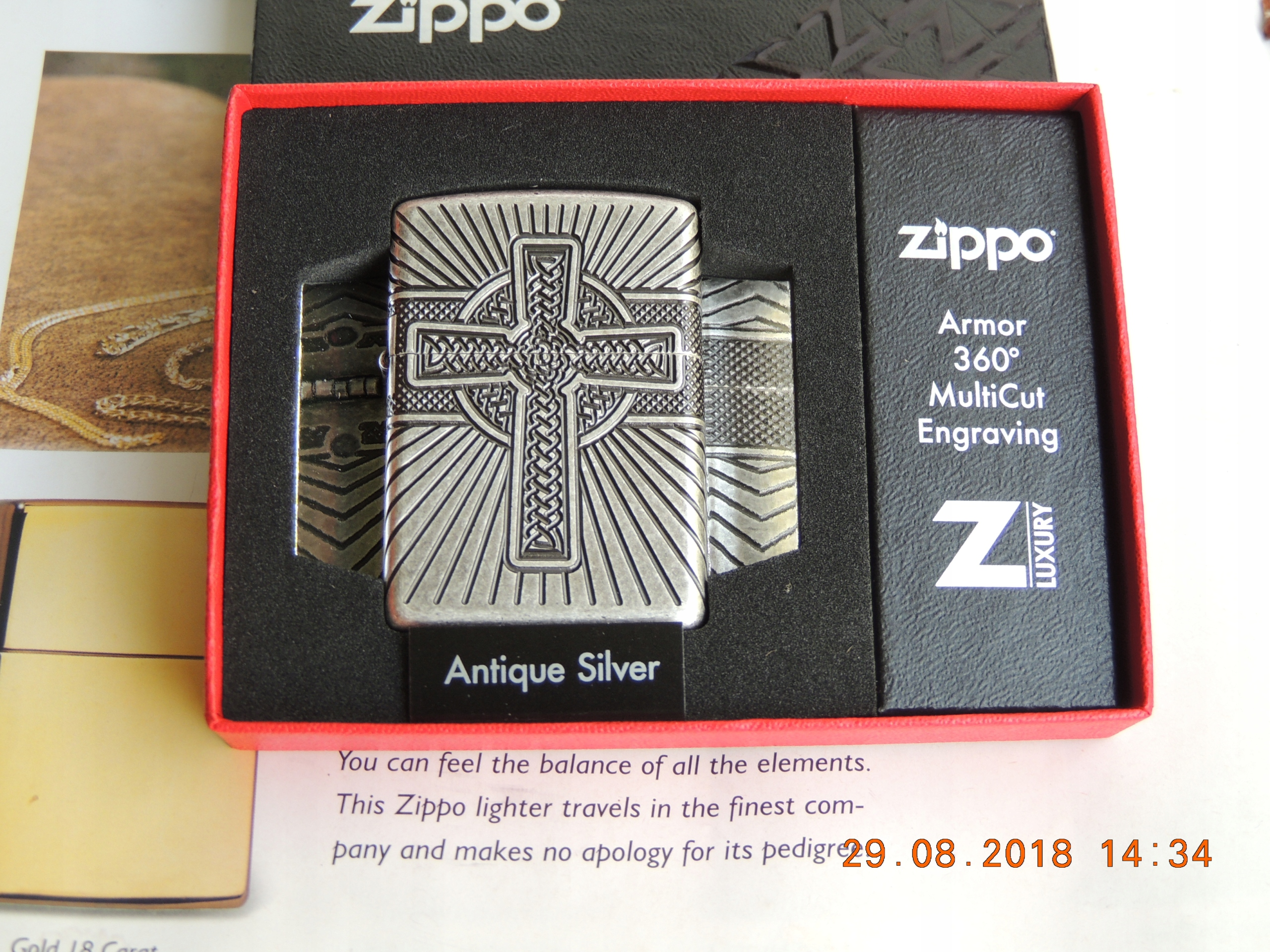 NOWA ZIPPO CELTIC CROSS . ANTIQUE SILVER , ARMOR