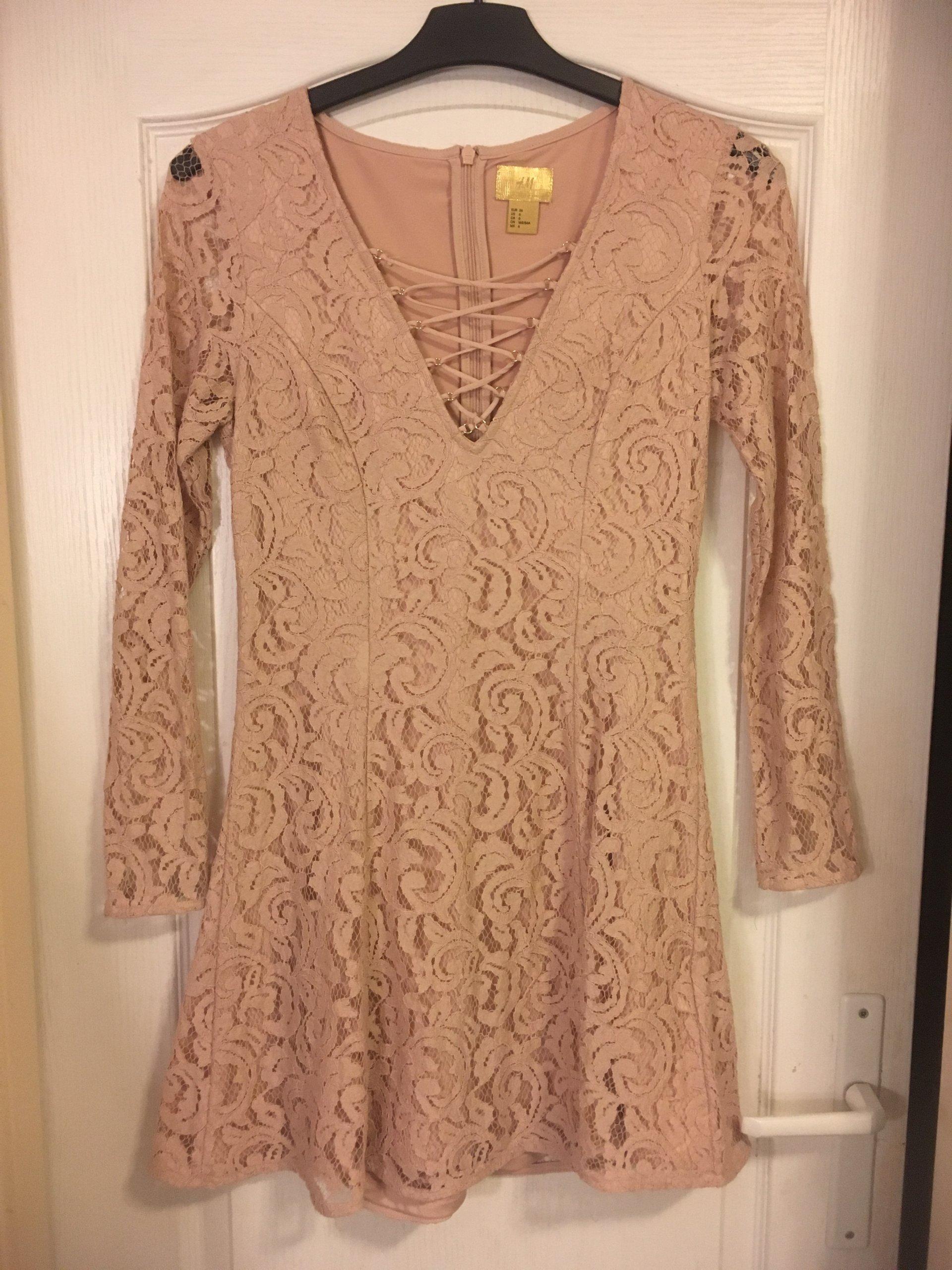 94a2278acc Sukienka H M S 36 pudrowy róż koronka TANIO - 7155000271 - oficjalne ...