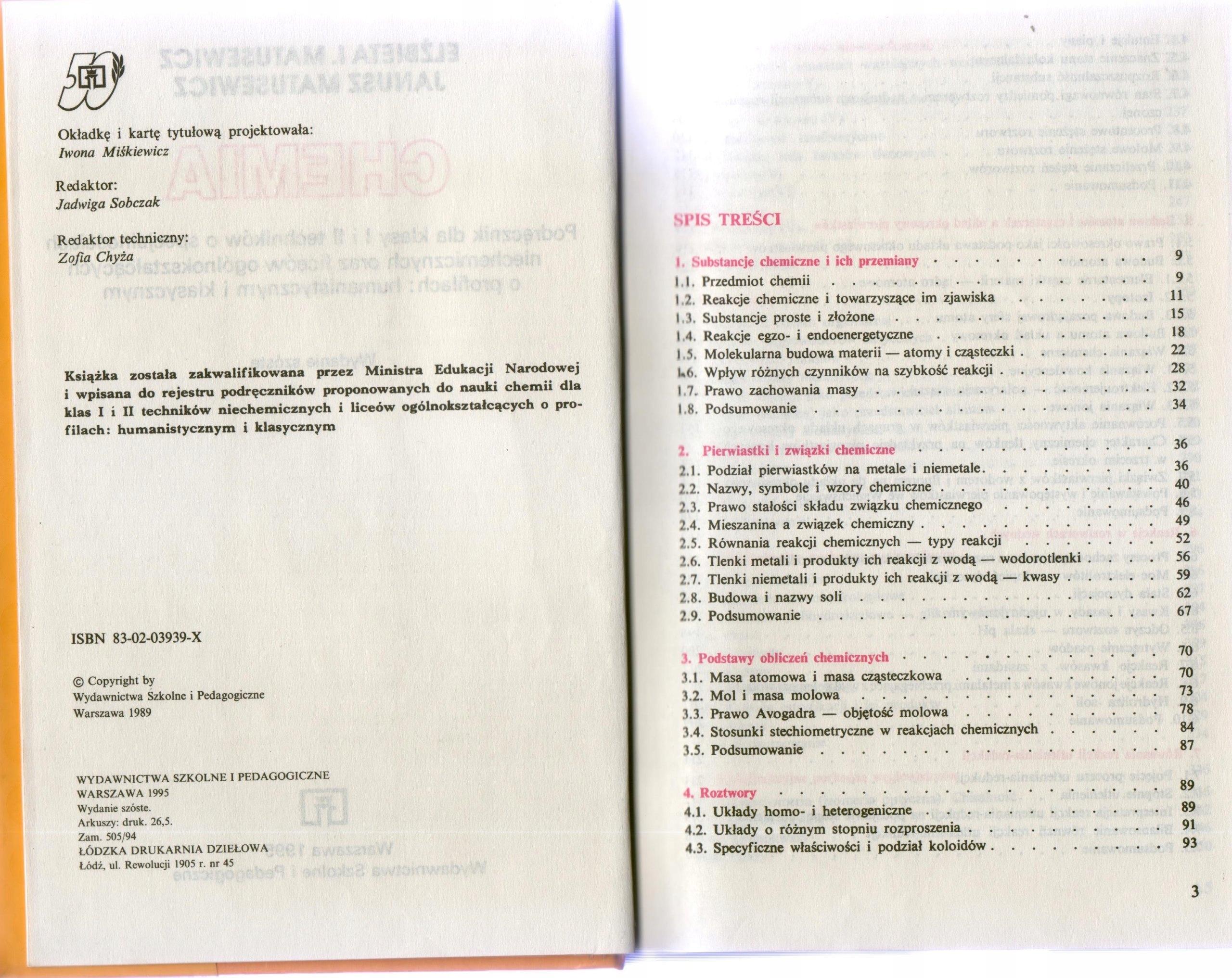 E Matusewicz J Matusewicz Chemia 7041514358 Oficjalne