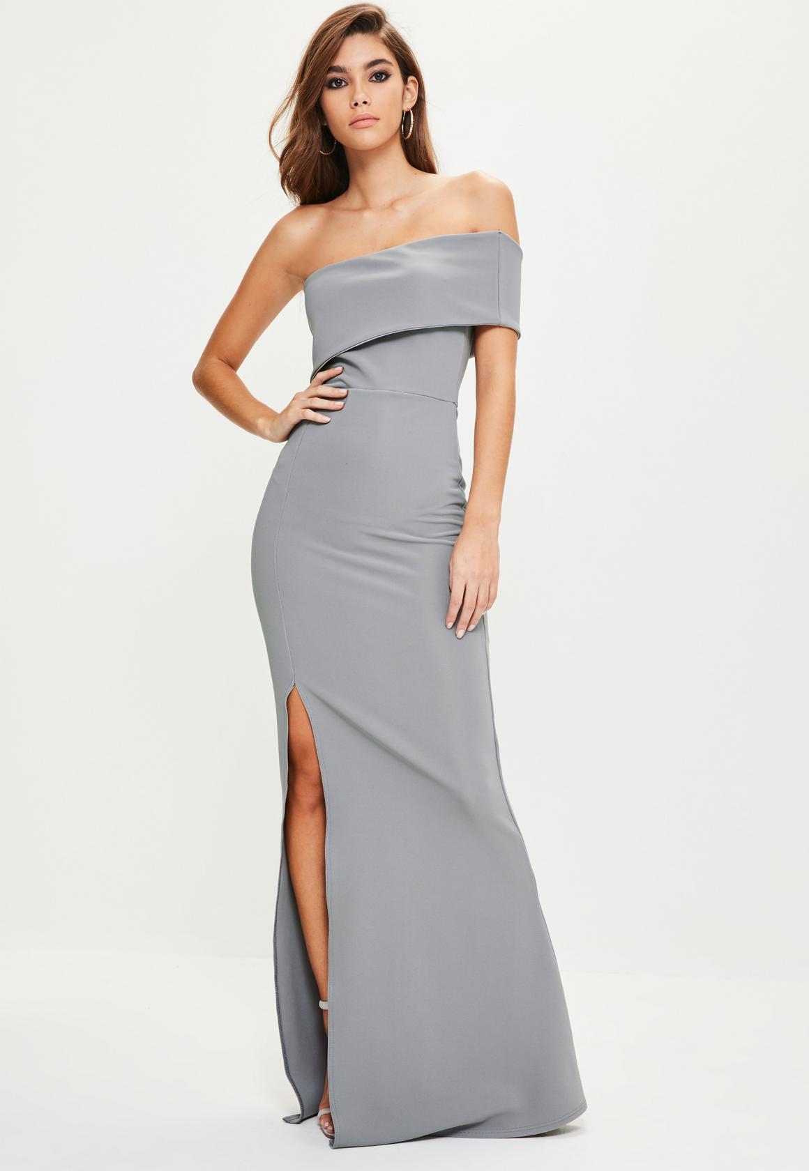 8c2fe699d03 Szara, długa suknia na jedno ramie z rozcięciem
