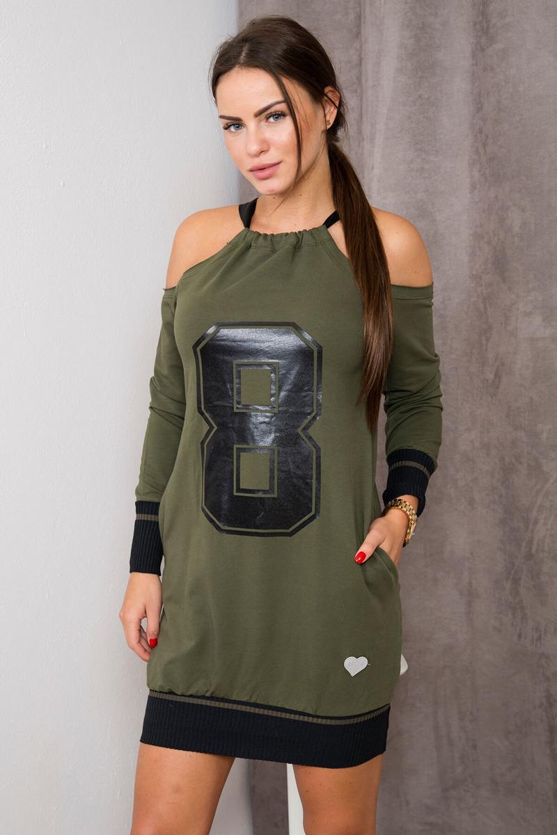 6fb6cdbdbd Sukienka z cyfrą 8 khaki un. super jakość zima - 7146322674 ...