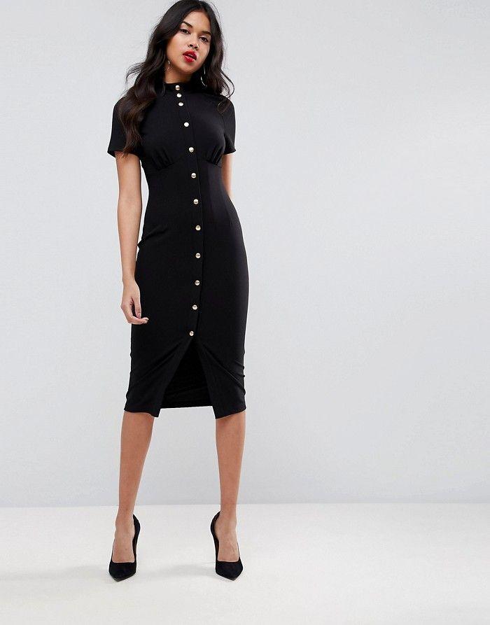 395518e33d ASO Klasyczna czarna sukienka midi zatrzaski (42) - 7354353917 ...