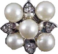 Klipsy ślubne perły cyrkonie kwiat srebrne c12