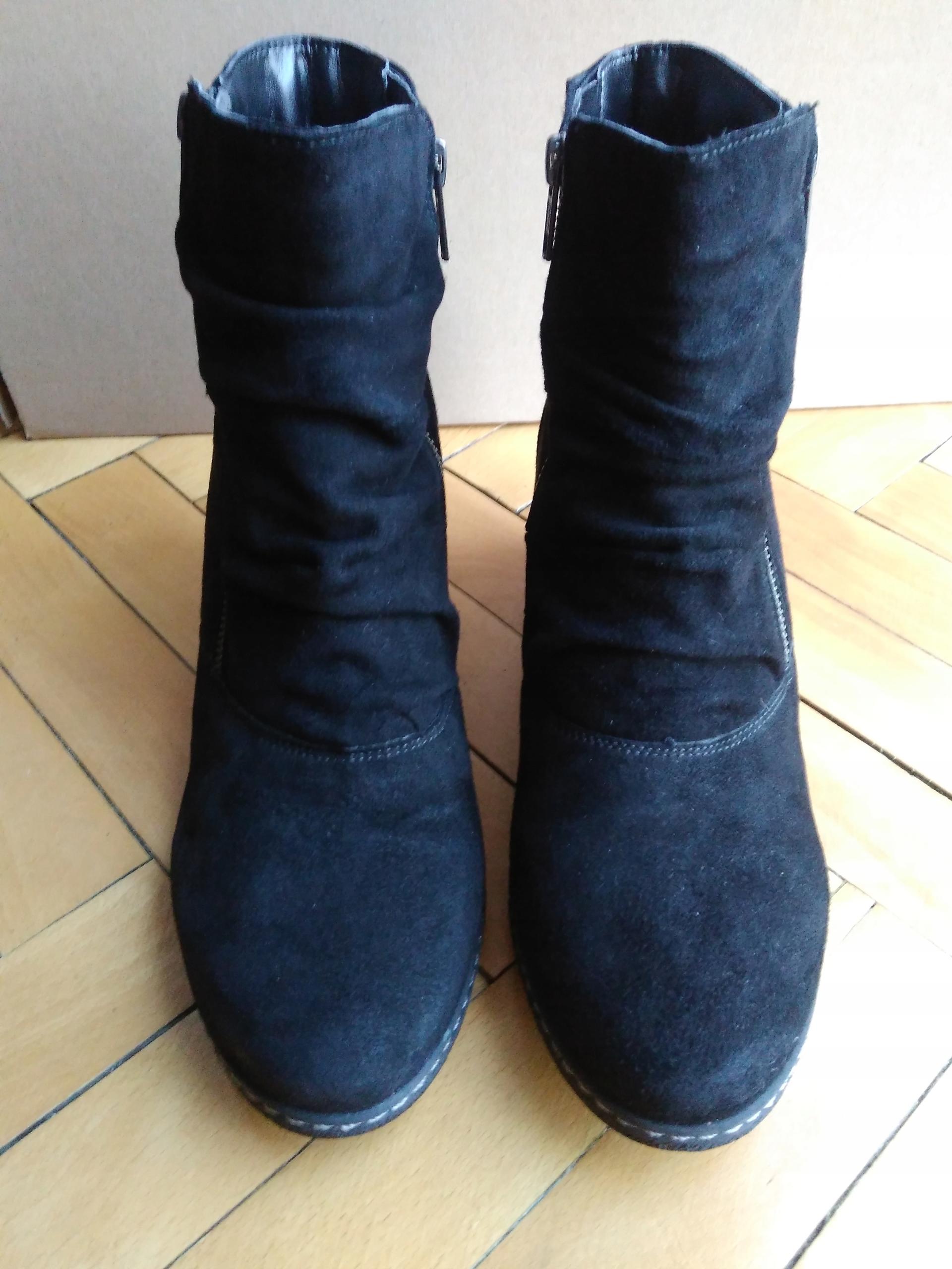 1409837af428e Skórzane zamszowe buty botki koturny Deichmann 40 - 7615172923 ...