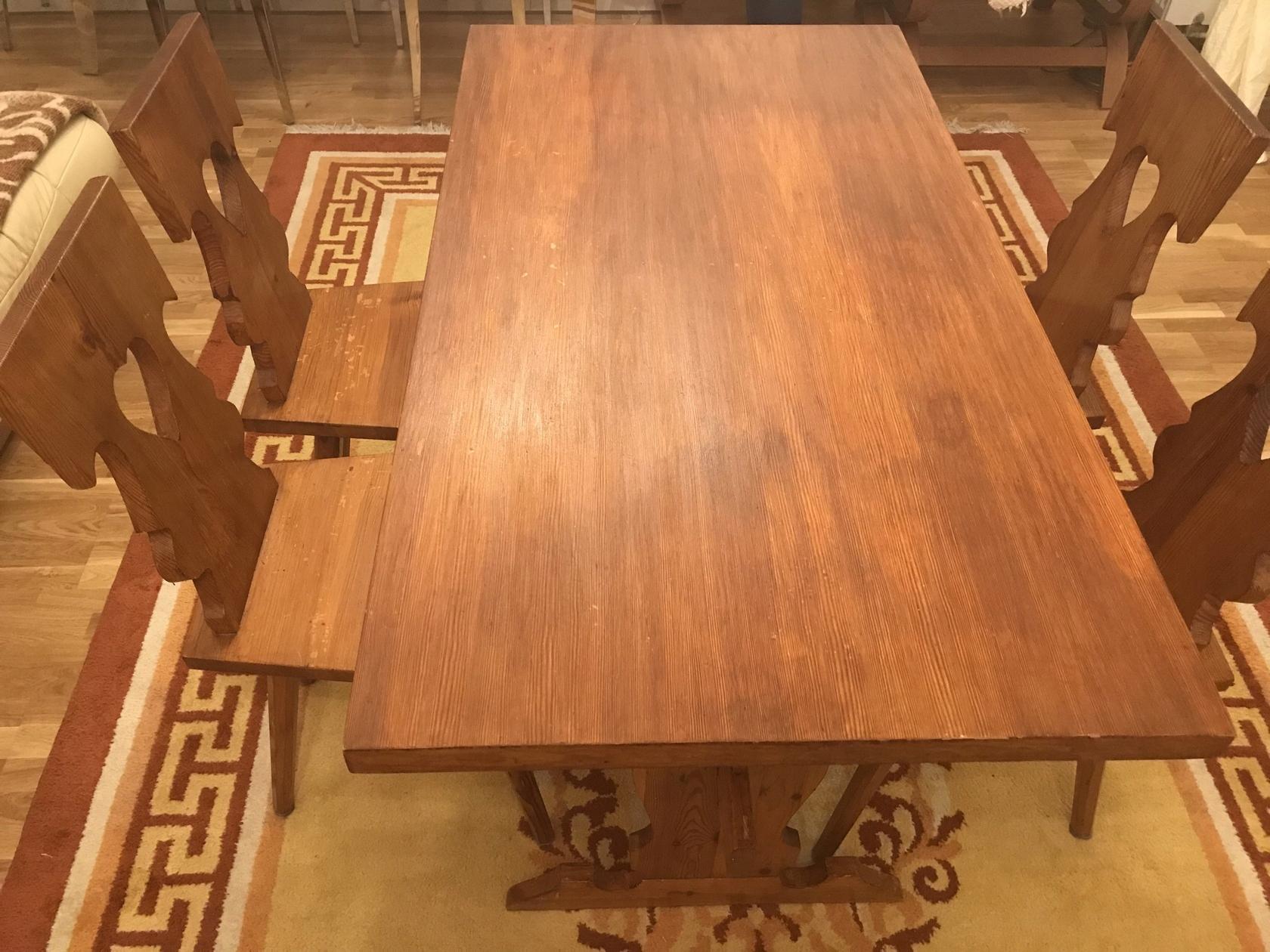 Bardzo dobra Komplet stół ława 4 krzesła styl góralski Warszawa - 7716035755 IW35