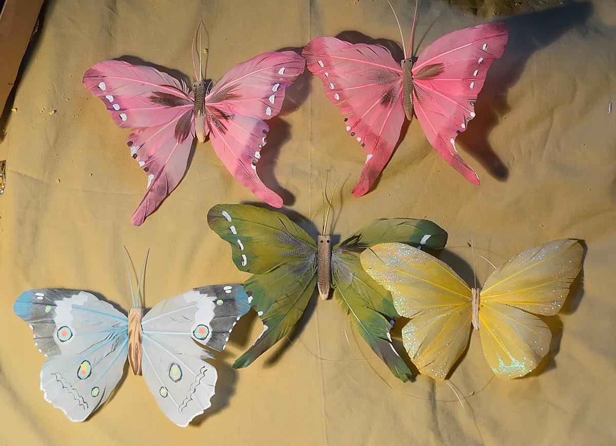 Ozdobne Motyle Wykonane Z Piór Zawieszki Dekoracje