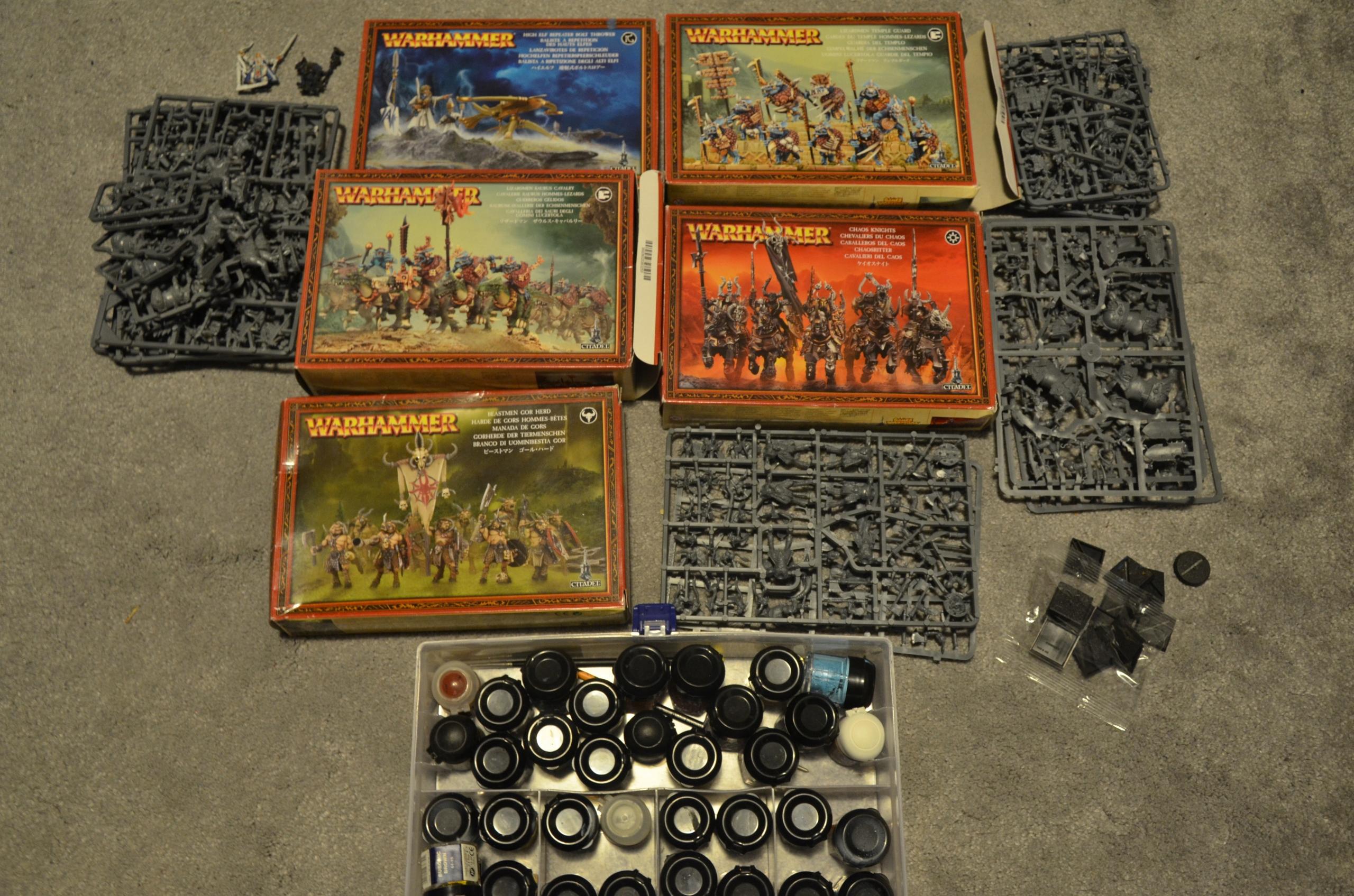 Warhammer FB - zestaw figurek, farbek - okazja!