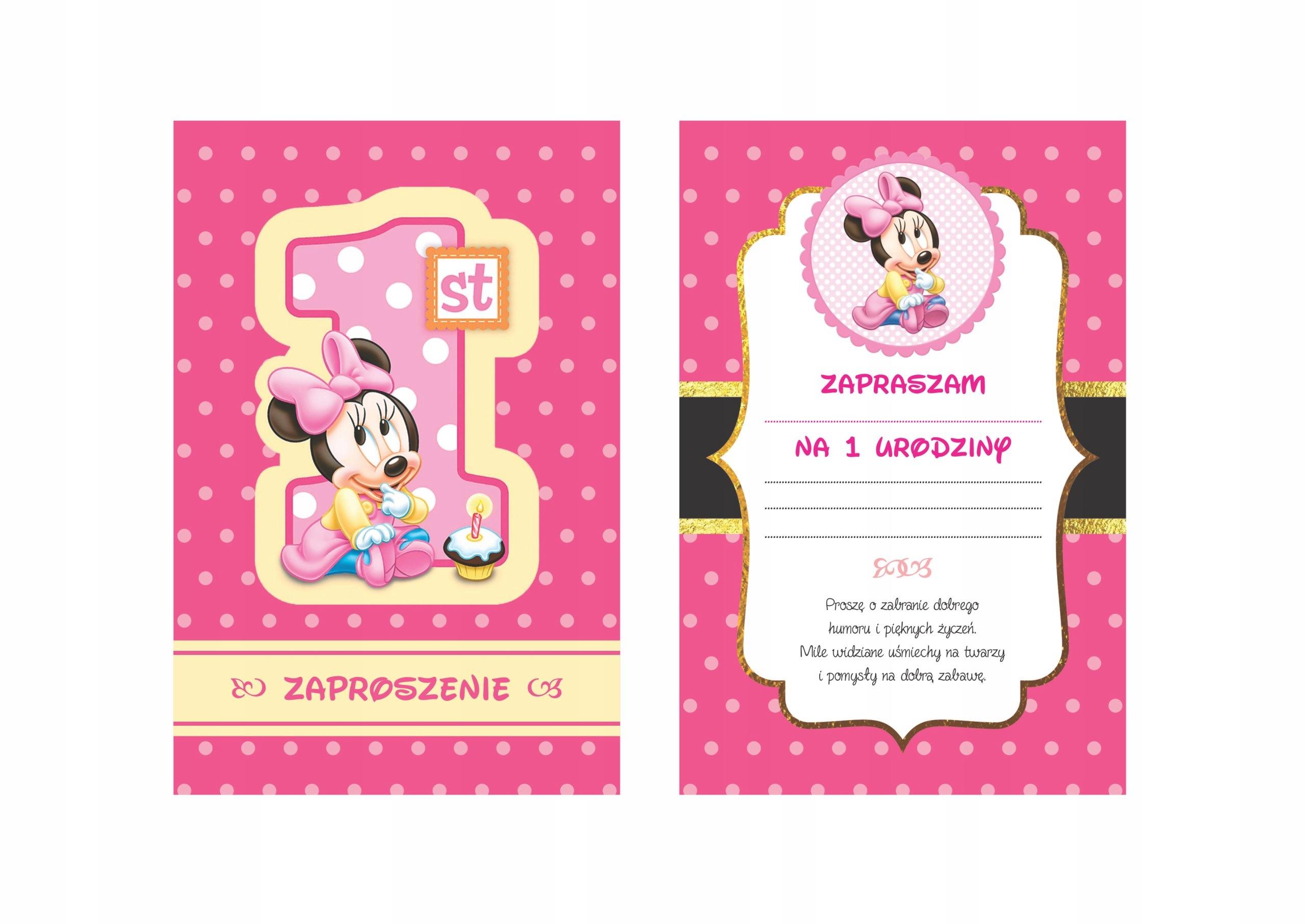 Zaproszenie Urodziny Roczek Myszka Mickey Minnie 7532338046