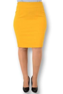 Spódnica ołówkowa zamszowa musztardowa