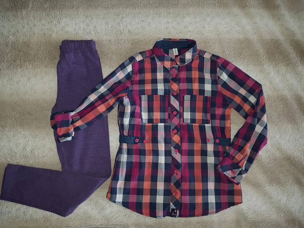 Koszula + leginsy COCODRILLO r. 134- jak nowe