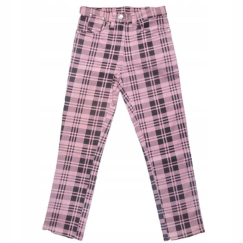 Spodnie dziewczęce w kratkę 134 różowe