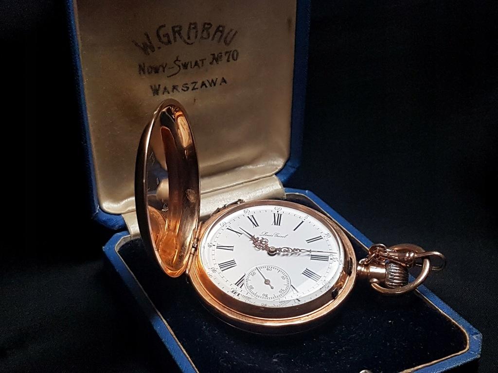 Zegarek Kieszonkowy Louis Grisel Ogromny Zloty 14k 7734612331
