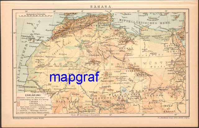 SAHARA oryginalna mapa z 1895 roku