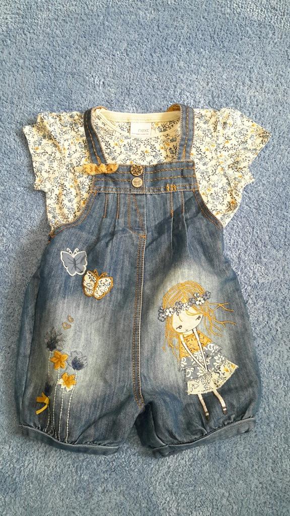 Komplet NEXT z dziewczynką r.98 ogrodniczki/tshirt