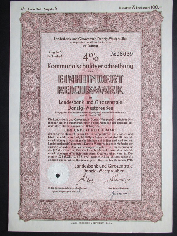 Skrypt Dłużny Danzig Gdańsk 1941
