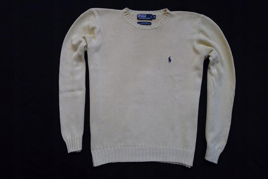 RALPH LAUREN sweter sweterek żółty logowany zima_L