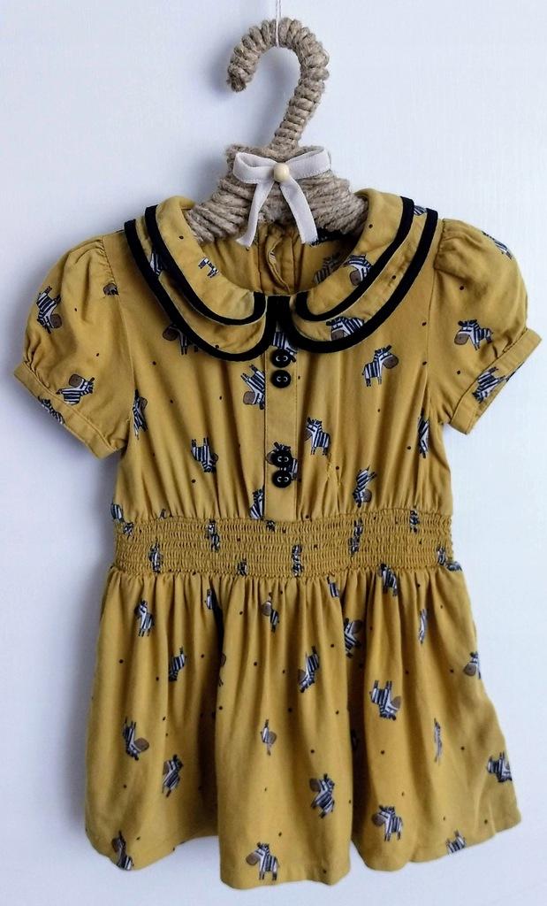 Sukienka NEXT 68cm 3 6m Musztardowa Zebry Kołnierz