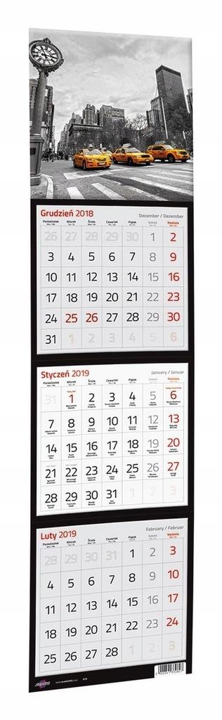 Kalendarz 2019 Trojdzielny Kwadratowy 7670689934 Oficjalne Archiwum Allegro