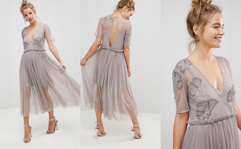 Sukienka zdobienia plisy midi zwiewna na wesele XS