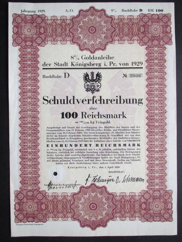 Pożyczka Złota Koenigsberg Królewiec 1929