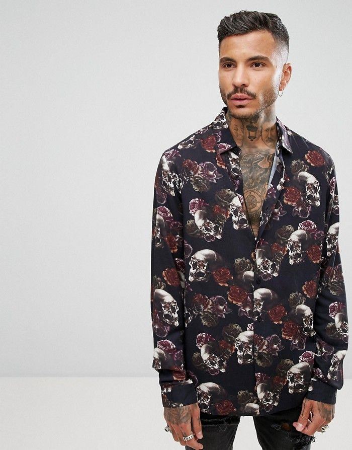 ASO Czarna koszula róże czaszki (XL)