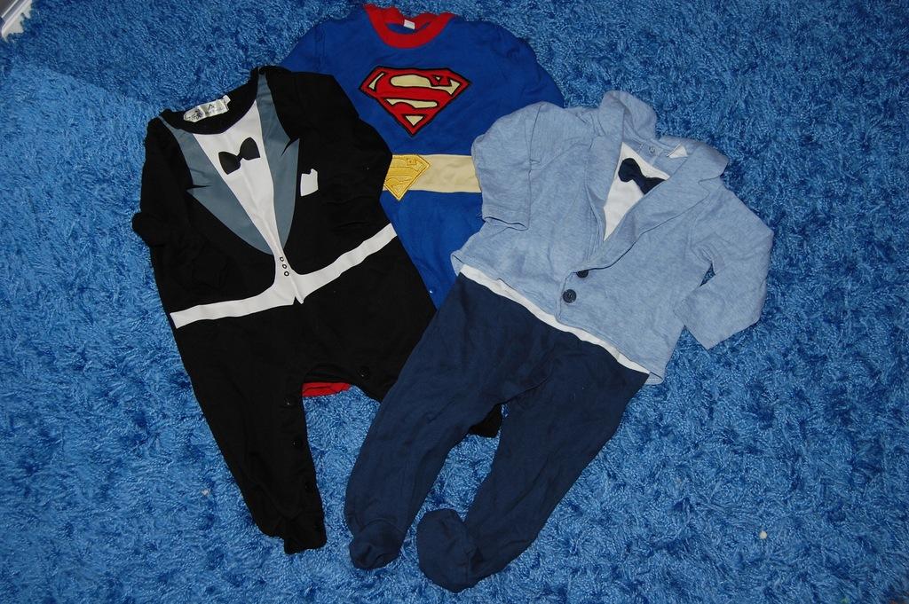 Komplet 3 pajacyki superman, garniturek r. 80