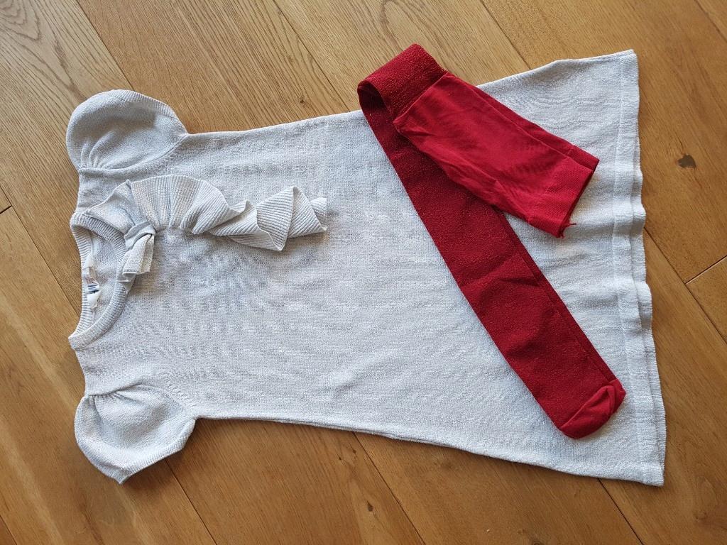 H&M sukienka i rajstopy 122/128