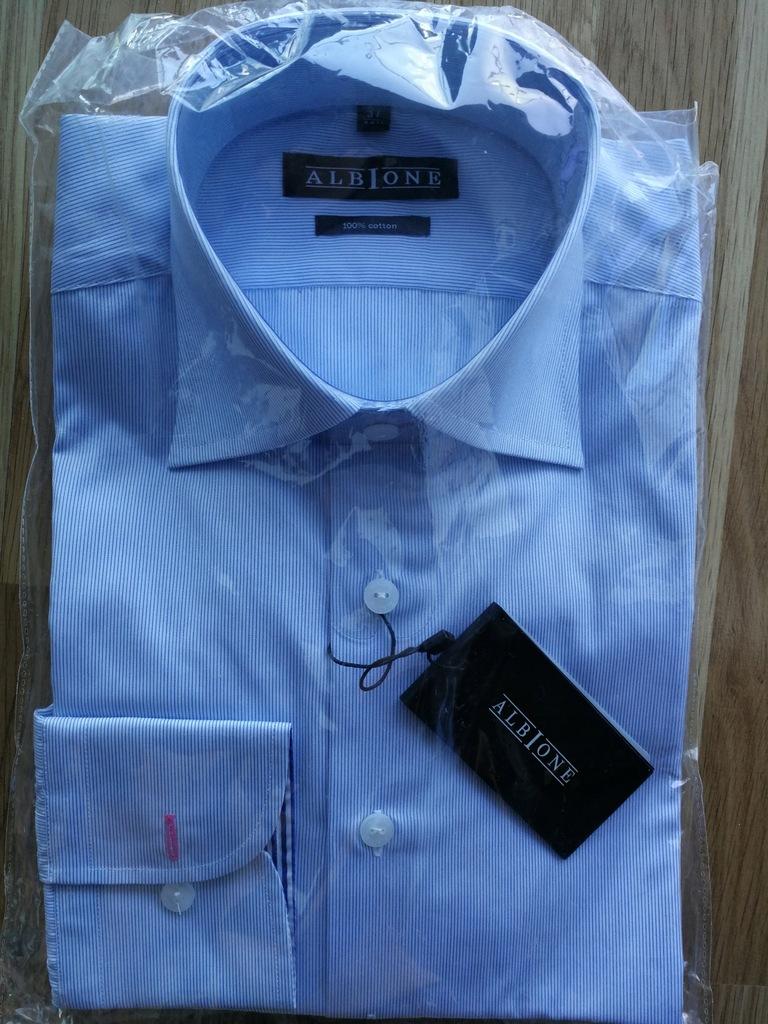 Nowa bawełniana koszula męska Albione rozm. 37 7480204663  qaHdb