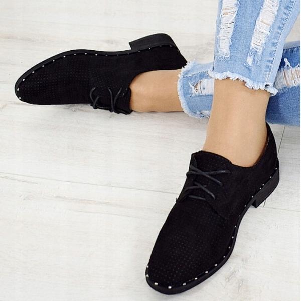buty damskie czarne na płaskim