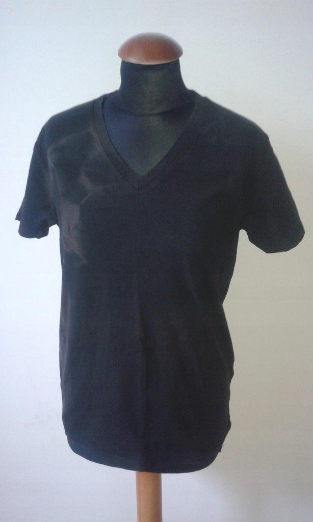 JACK & JONES męski T-shirt czarny w serek S