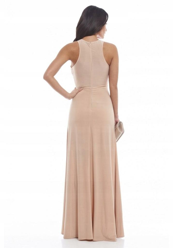 EMO sukienka wieczorowa midi Paris różowo - nude | LuxYou