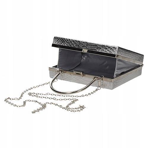 Wizytowa torebka damska na łańcuszku srebrna