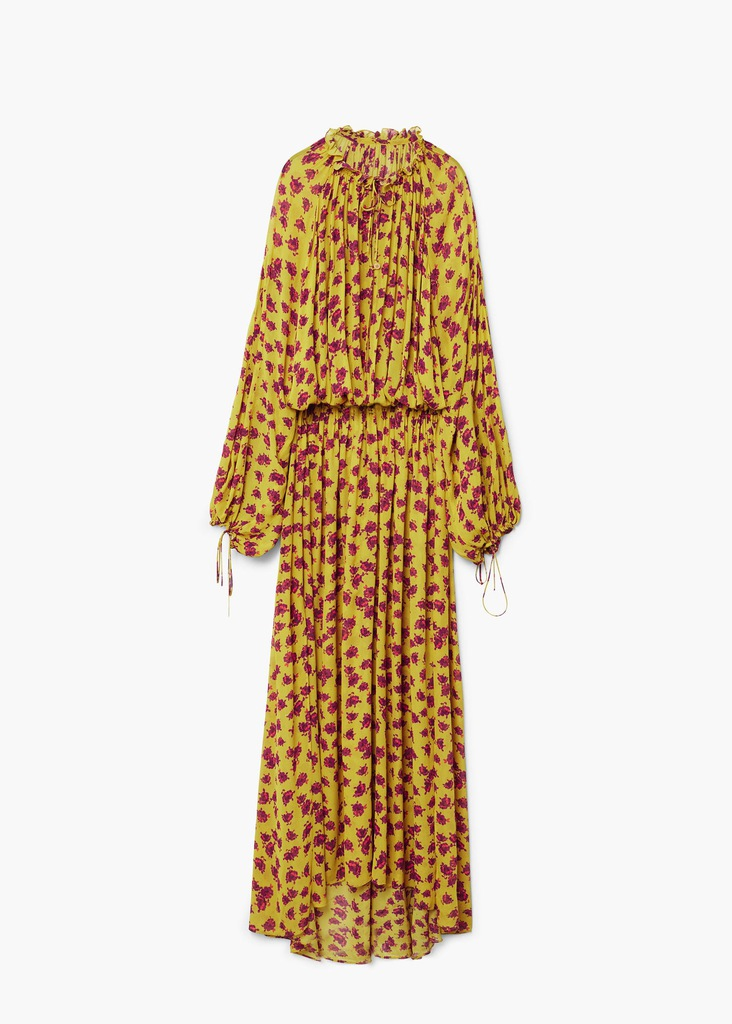 Musztardowa sukienka mango maxi kwiaty zara boho