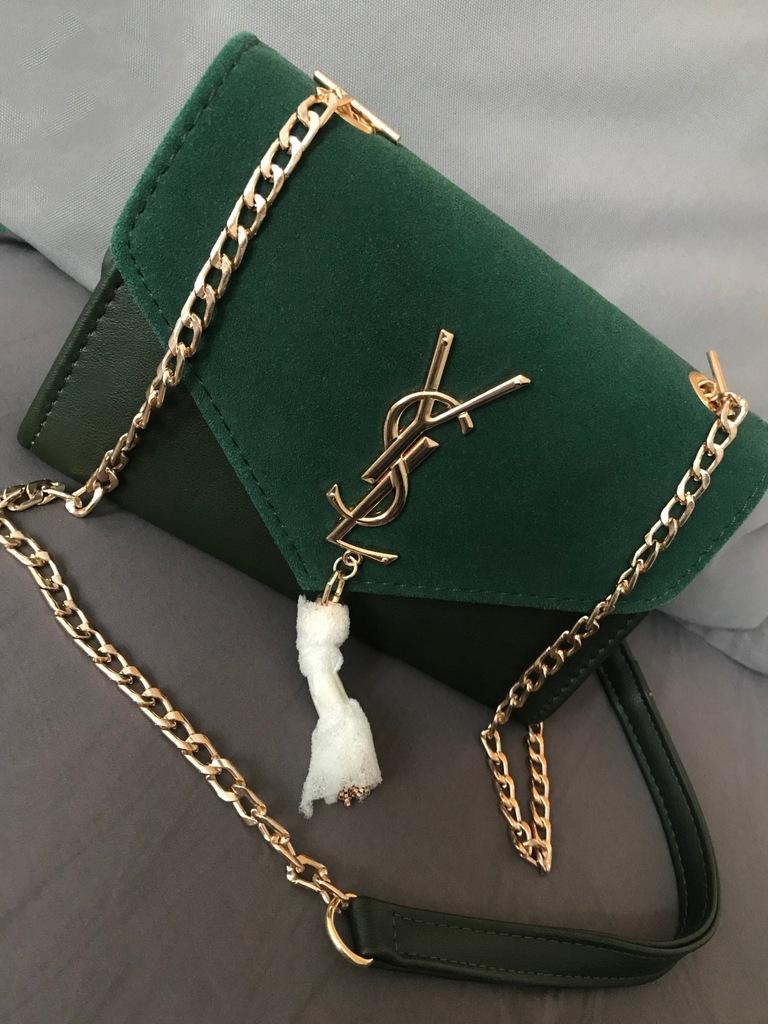 Piękna zielona torebka logo YSL NOWA