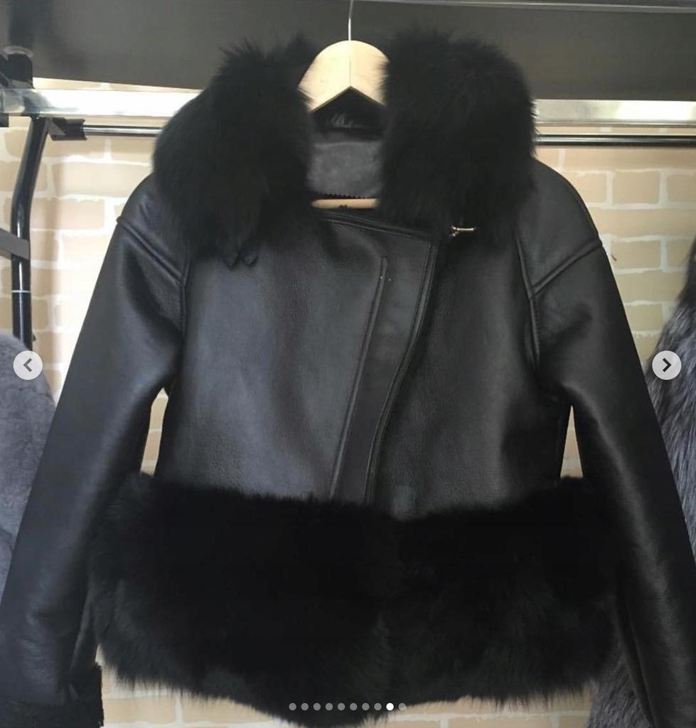 Kożuch płaszcz damski ML z kapturem do renowacji Zdjęcie