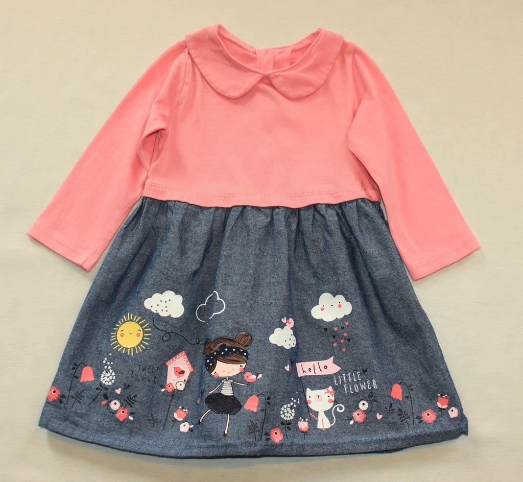 Sukienka EARLY DAYS dziewczynka kotek jeans r. 80