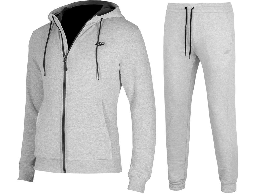 4F MĘSKIE Bluza Spodnie DRESY KOMPLET J.Szary XL