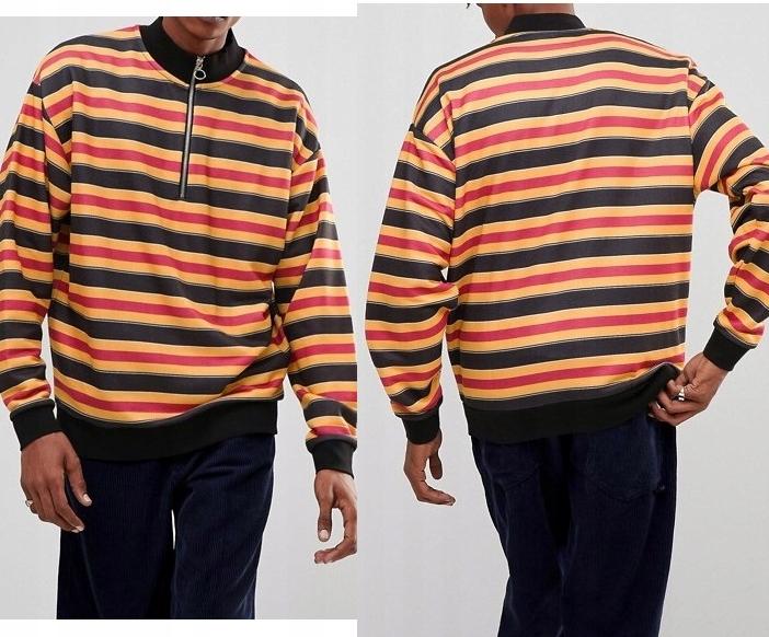 A426 bluza męska z zamkiem w paski XL