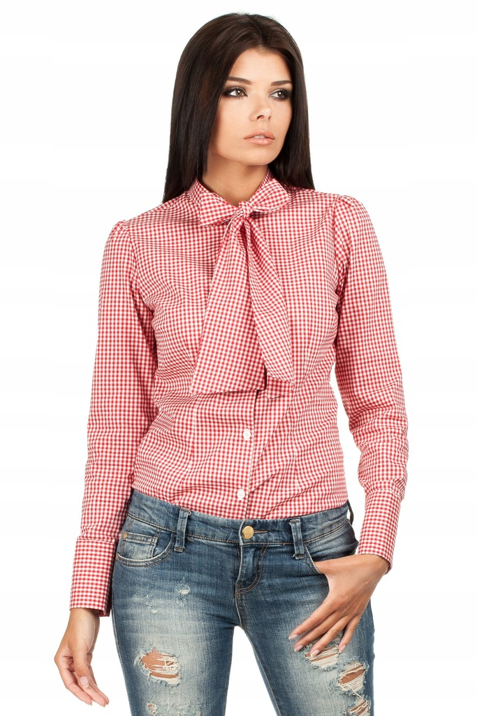 MOE Koszula w Czarną Kratkę z Wiązaną Kokardą
