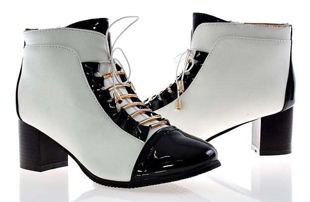 2600kz botki krótkie białe czarne eleganckie r 37