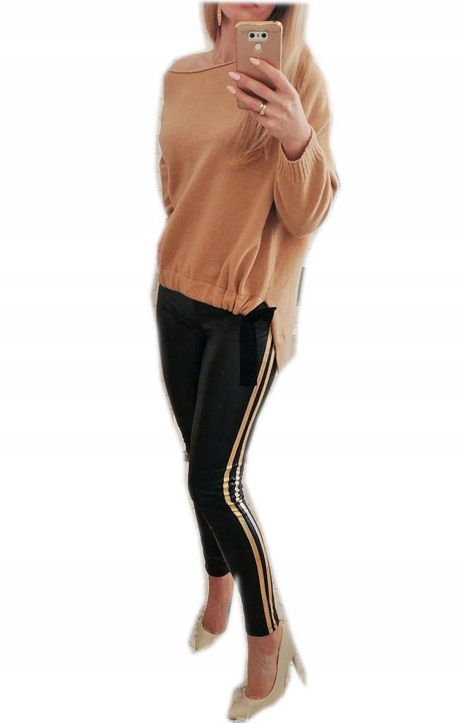 spodnie damskie czarne lampas złoty roz uni