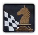 Naszywka - SZACHY, szachownica i koń, brązowy HAFT
