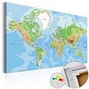 Tablica korkowa Mapa świat obraz na korku 120x80