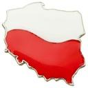 Przypinka biało czerwona w kształcie kontur Polski