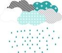 Naklejki skandynawskie chmury krople mięta turkus