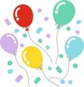 Naklejka ścienna balony konfetti pastelowe kolory