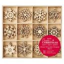 Zestaw ozdób drewnianych Duże Snowflakes DECOUPAGE