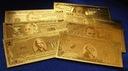 Złote Banknoty 24 k-1,2,5,10,20,50,100 Dolarów