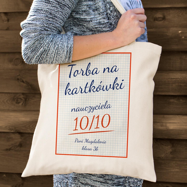 77e3995d566aa Bawełniana torba z nadrukiem dedykacji na prezent z okazji dnia nauczyciela